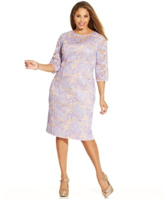 Three quarter sleeve lace sheath dress