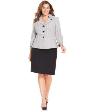 Le Suit Plus Size Tweed Contrast Skirt Suit
