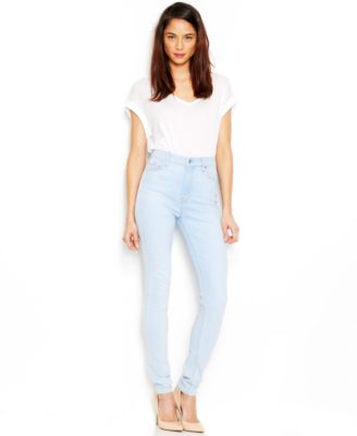 7 For All Mankind High-Waist Skinny Jeans, Bleached Aquamarine ...