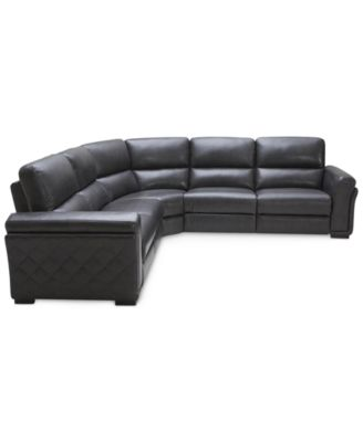 Jessi Qulited Side Leather 5-Piece L-Shaped Sectional Sofa with 2 Power  Recliners
