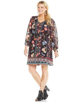 American Rag Plus Size Floral-Print Belted Peasant Dress - Dresses ...