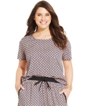 Stevie and Lindsay Plus Size Short-Sleeve Printed Top