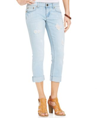 Dollhouse Juniors' Destroyed Boyfriend Jeans - Juniors' Brands ...