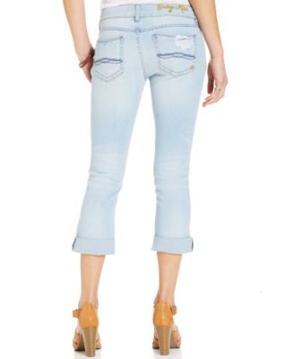 Indigo Rein Juniors' Destroyed Cropped Jeans - Jeans - Juniors ...