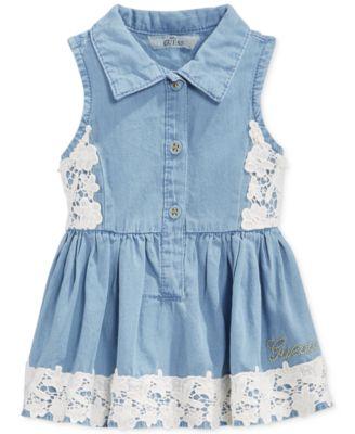GUESS Baby Girls&39 Lace-Trim Denim Dress - Kids - Macy&39s