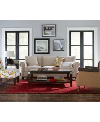 Martha Stewart Collection New Club Fabric Roll Arm Sofa Furniture Macy 39 S