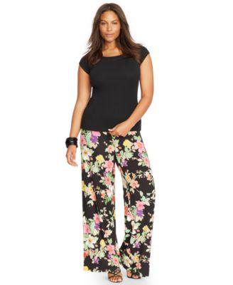 Lauren Ralph Lauren Plus Size Wide-Leg Floral-Print Pants - Pants ...