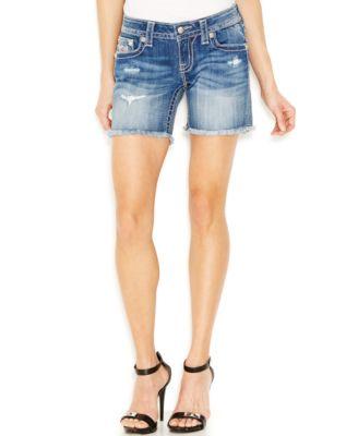 Miss Me Knee-Length Denim Shorts, Blow Out Wash - Shorts - Women ...