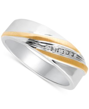 Beautiful Beginnings Men's Diamond Accent Wedding Band in 14k Gold and Sterling Silver thumbnail