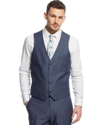 Bar Iii Blue Chambray Slim Fit Vest