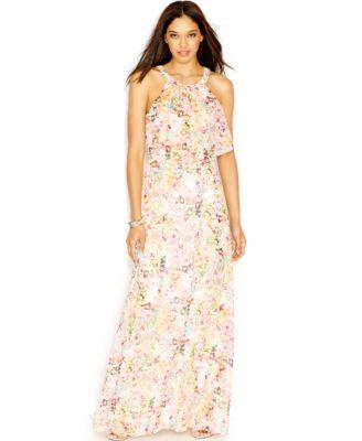 Jessica Simpson Floral-Print Popover Maxi Dress - Dresses - Women ...