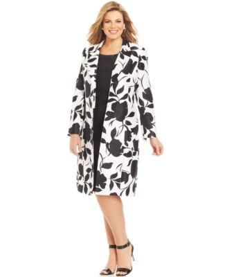 Le Suit Plus Size Shantung Long Jacket Dress Suit - Wear to Work