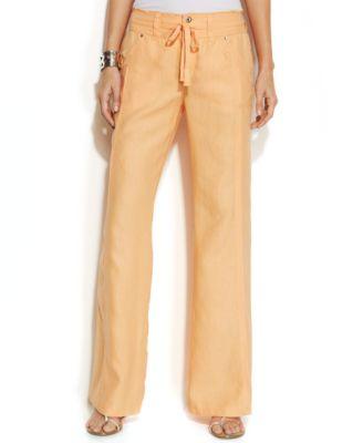 INC International Concepts Wide-Leg Linen Pants - Pants & Capris ...