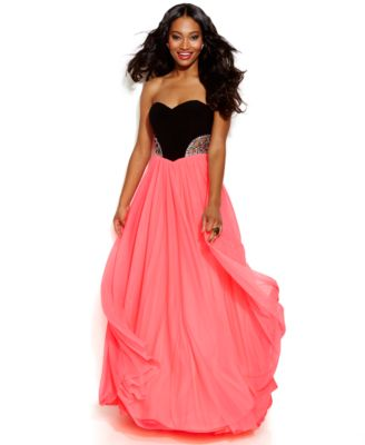 Blondie Nites Juniors\' Colorblock Strapless Ball Gown - Dresses ...