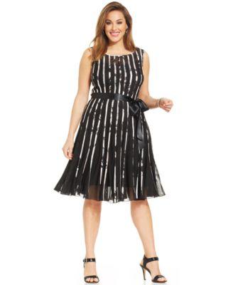 SL Fashions Plus Size Floral-Stripe Mesh Dress - Dresses - Women ...