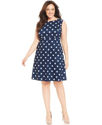 Connected Plus Size Sleeveless Polka-Dot Dress - Dresses - Women ...