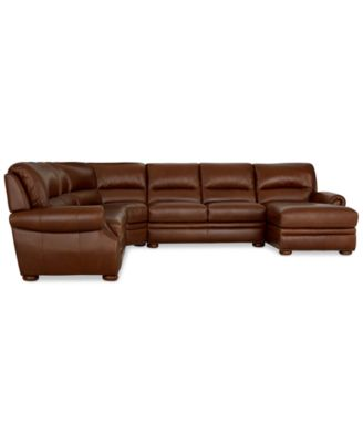 Royce Leather 4 Piece Chaise Sectional Sofa Furniture Macy's