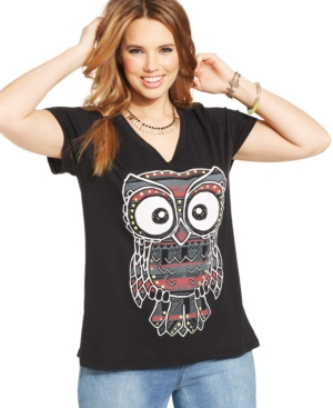 Rebellious One Plus Size Owl-Print Graphic Tee