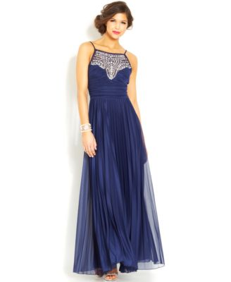 B Darlin Juniors' Pleated Embellished Gown - Dresses - Juniors ...