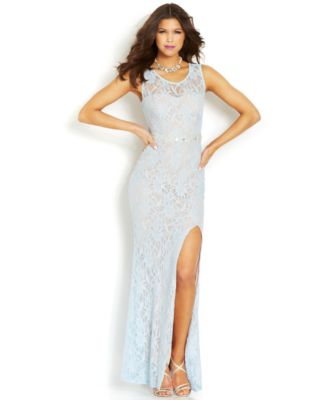 City Studios Juniors\' High-Slit Glittered Lace Gown - Dresses ...