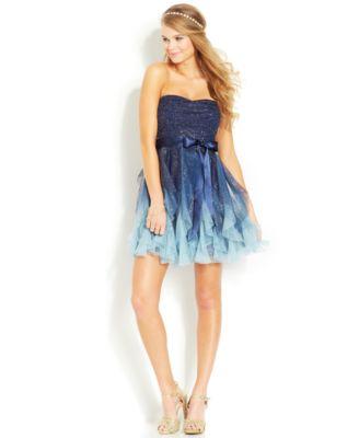 Teeze Me Juniors Dress, Strapless Ruffled Glittered High-Low ...