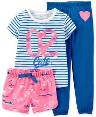 Carter's Girls' or Little Girls' 3-Piece Flamingo Pajamas - Kids ...