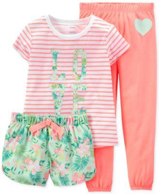 Carter's Girls' or Little Girls' 3-Piece Love Pajamas - Kids ...