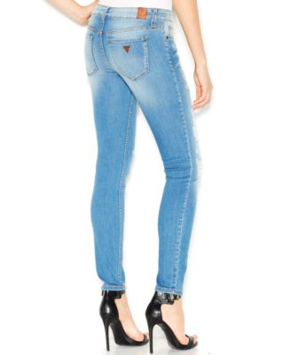 GUESS Low-Rise Distressed Skinny Jeans, Voila Destroy Wash - Jeans ...