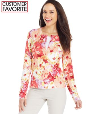 Charter Club Petite Floral Trim Open-Front Cardigan - Sweaters ...