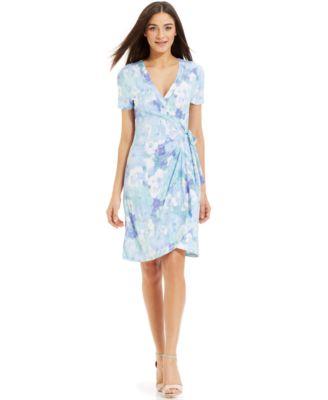 Miraclesuit Short-Sleeve Printed Wrap Dress - Dresses - Women - Macy&-39-s