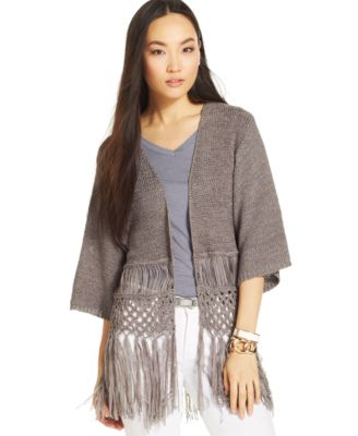 NY Collection Kimono-Sleeve Fringed Cardigan - Sweaters - Women ...