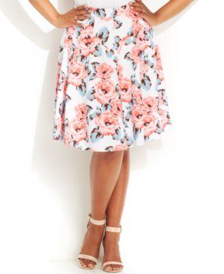 INC International Concepts Plus Size Heart-Print A-Line Skirt ...