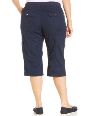 Style&co. Plus Size Roll-Tab Cargo Capri Pants - Pants & Capris ...