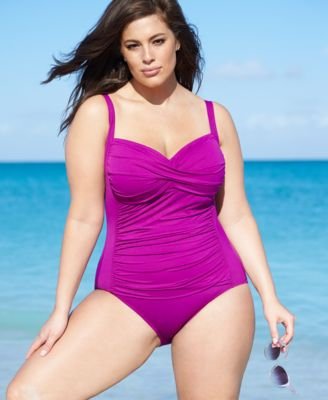 La Blanca Plus-Size Printed One-Piece Swimsuit - Swimwear - Plus ...