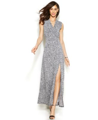 Turmec Michael Kors Cap Sleeve Maxi Wrap Dress