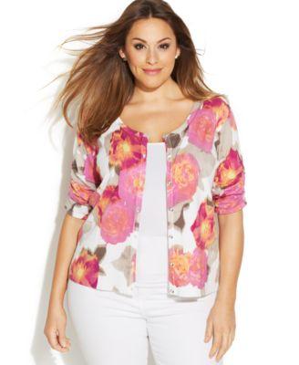 INC International Concepts Plus Size Short-Sleeve Floral-Print ...