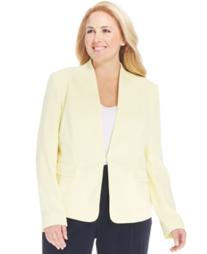 Jones New York Collection Plus Size Collarless Blazer