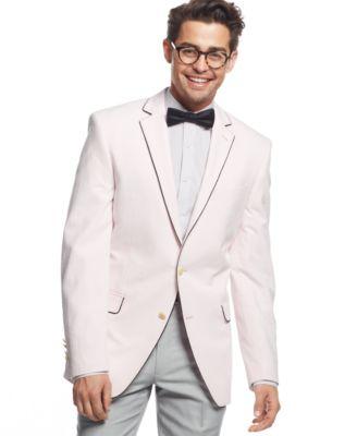 Tallia Pink Slim-fit Seersucker Sport Coat - Blazers & Sport Coats ...