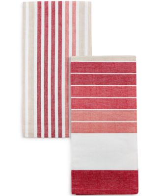 High Quality Homewear Striped Red Kitchen Towels, Set Of 2
