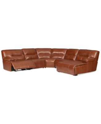 Beckett Leather 5 Piece Chaise Sectional Sofa With 2 Power
