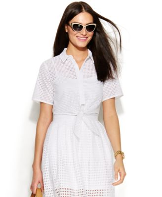 MICHAEL Michael Kors Sleeveless Cotton Eyelet Dress - Dresses ...