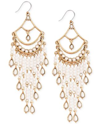 Lucky brand gold tone white bead chandelier earrings fashion lucky brand gold tone white bead chandelier earrings mozeypictures Choice Image