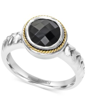 Effy Onyx (1-3/4 ct. t.w.) Braid Ring in Sterling Silver and 18k Gold thumbnail