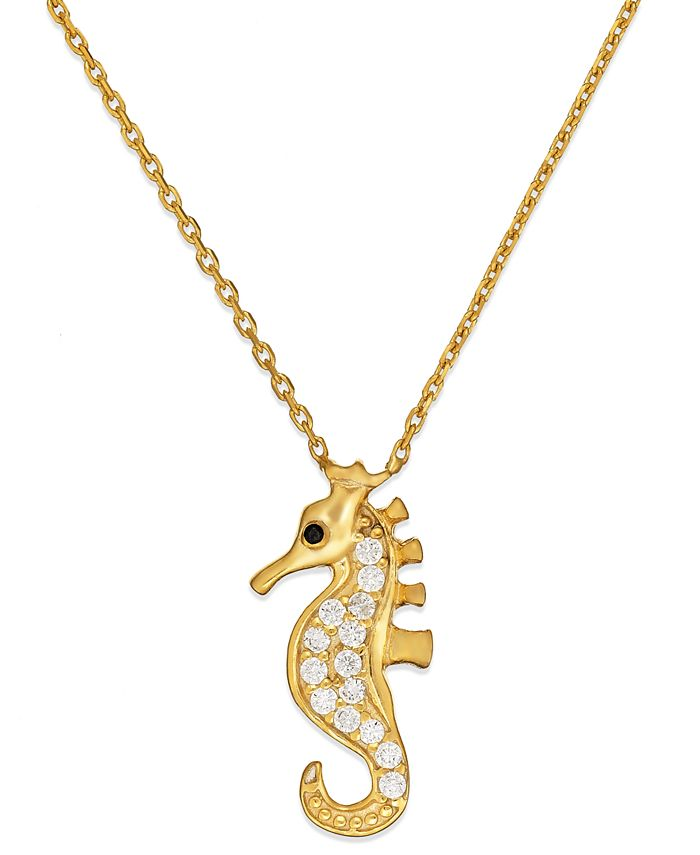 Giani Bernini - Cubic Zirconia Seahorse Pendant Necklace in 18k Gold over Sterling Silver