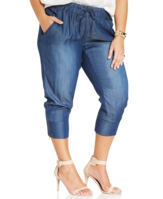 Rocks & Indigo Plus Size Cropped Faux-Denim Jogger Pants - Pants ...