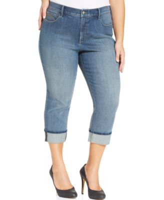 NYDJ Plus Size Kasia Cropped Jeans, Dark Enzyme Wash - Jeans ...