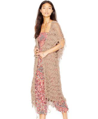 Free People Short-Sleeve Maxi Cardigan - Women&-39-s Brands - Women ...