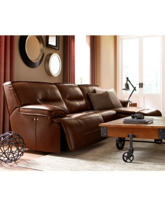 Beckett Leather 3 Piece Sectional Sofa With Power Recliner