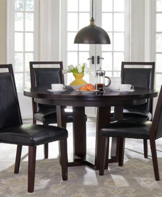 Belaire Black Round 7 Piece Dining Room Furniture Set
