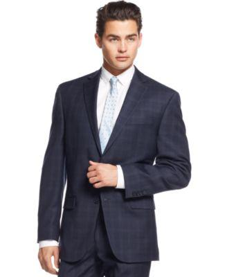 Calvin Klein Navy Plaid Slim-Fit Suit - Suits & Suit Separates ...